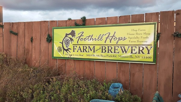 Foothill Hops Farm Brewery at 5024 Bear Path Road (Route 46) just south of Munnsville in Madison County.