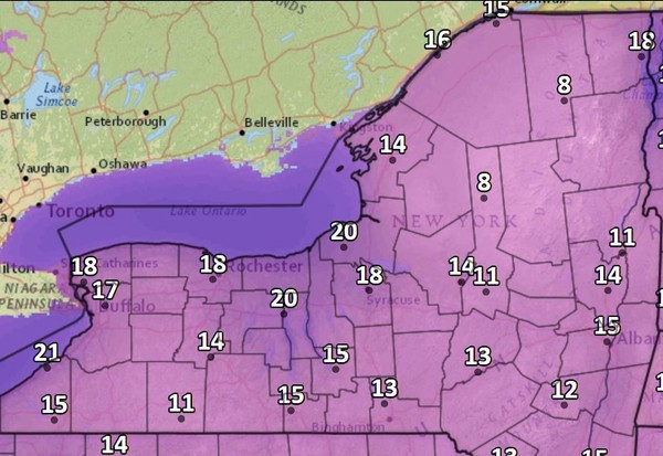 Temperatures will plunge into the teens across Upstate New York early Saturday morning, possibly setting new records for Nov. 11.