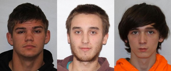 Robert Murray, (from left to right) Andrew Elliott and Spencer Carl were each charged with one count of criminal negligent homicide, according to state police.
