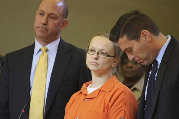 Angelika Graswald stands with her attorneys Jeffrey Chartier, left, and Richard Portale during her sentencing at the Orange County courthouse in Goshen, N.Y., Wednesday, Nov. 8, 2017.