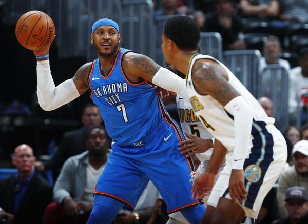 Carmelo Anthony moved into 24th on the NBA's all-time scoring list on Thursday night.