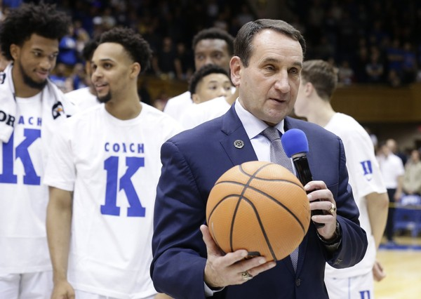 The NCAA reported that Duke head coach Mike Krzyzewski became the first Division I men's basketball coach with 1,000 wins at the same school. Syracuse fans were not pleased.