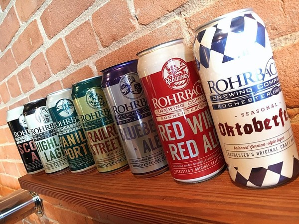 Cans from Rohrbach Brewing Co. in Rochester