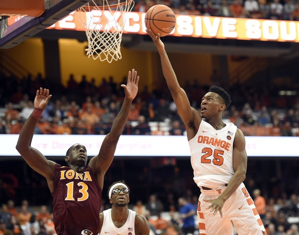 Syracuse guard Tyus  Battle scored a career-high 28 points in the Orange's win over Iona on Tuesday. Syracuse will host Texas Southern at the Carrier Dome on Saturday.