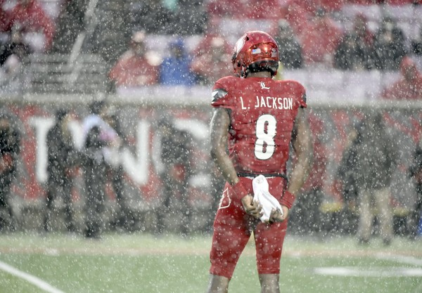 On an afternoon that brought high wind gusts and periods of heavy rain -- and a 43-minute lightning delay -- Lamar Jackson finished 14-for-26 for 270 yards through the air, added 111 rushing yards on 12 carries, scored four total touchdowns and did not turn the ball over.