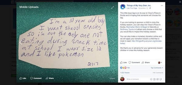 A Capital Region 10-year-old boy's tag asks for school snacks for Christmas.