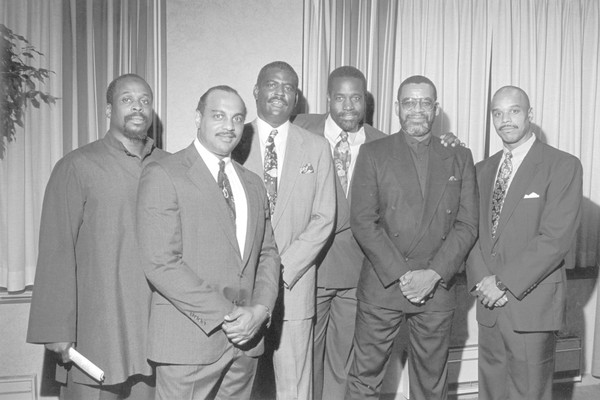 This file photo shows some of the 'Syracuse 8' players involved in the 1970 boycott of the SU football team. Left to right are A. Alif Muhammad, Greg Allen, John Lobon, Clarence McGill, Duane Walker and Dana Harrell.