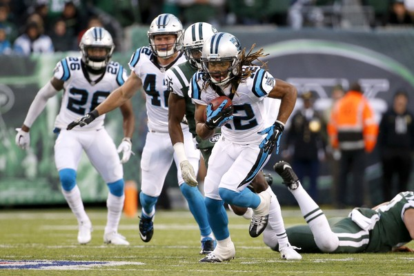 Carolina Panthers' Kaelin Clay (12) returns a New York Jets punt for a touchdown during the second half of an NFL football game, Sunday, Nov. 26, 2017, in East Rutherford, N.J. (AP Photo/Kathy Willens)