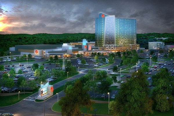 A rendering of the Resorts World Catskills casino and resort in Kiamesha Lake, near Monticello in the Catskill region. It is expected to open in March 2018.
