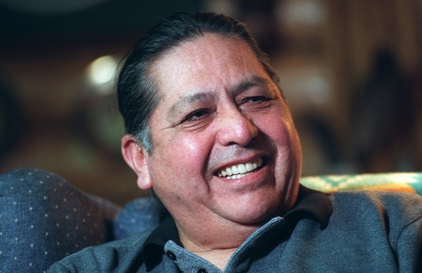 Onondaga Nation Chief Irving Powless, Jr. smiles when recalling his best lacrosse memory, knocking down the great Jim Brown, in this March 1997 file photo. Powless died Thursday. He was 88.