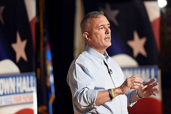 U.S. Rep. John Katko answers questions from constituents during a televised forum at Storer Auditorium on the Onondaga Community College campus on May 15, 2017.