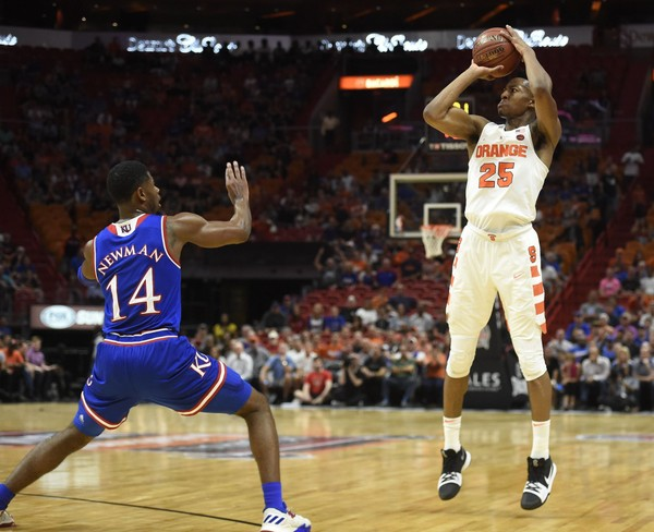 Syracuse guard Tyus  Battle (25) during a game against Kansas on Saturday, Dec. 2, 2017, in the Hoophall Miami Invitational at American Airlines Arena in Miami. Dennis Nett | dnett@syracuse.com