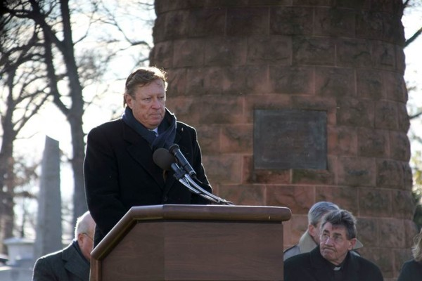 Francis J. Duggan, board president of the Victims of Pan Am Flight 103, Inc., speaks at the Lockerbie Memorial Cairn at Arlington National Cemetery in 2008. (Provided photo)