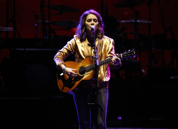 Brandi Carlile performs the Hallelujah during a community concert at the Obama Foundation Summit Wednesday, Nov. 1, 2017, in Chicago.