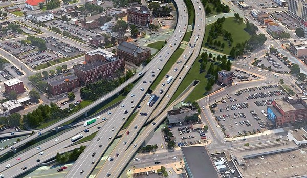 A $2 million study of tunnel options for Interstate 81 included this rendering of the study's recommended option. The southbound tunnel entrance is in the green space to the right of I-81 in downtown Syracuse.