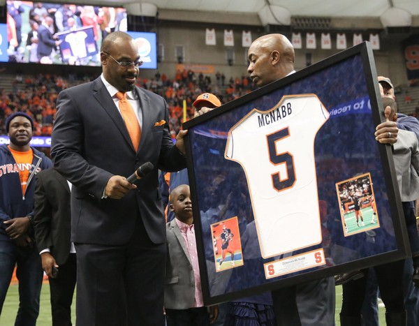 Former Syracuse quarterback Donovan McNabb was accused of sexual harassment in a lawsuit by a former NFL Network employee.