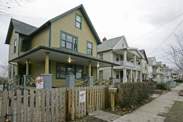 "The house in Cleveland's Tremont neighborhood where the 1983 movie ""A Christmas Story"" was filmed is shown Monday, Dec. 15, 2008."