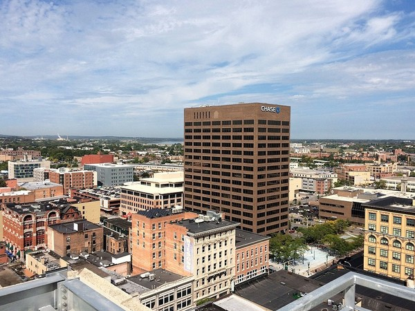 The Syracuse skyline, looking northwest, from atop the Barclay Damon Tower.