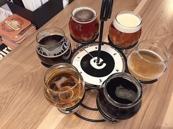 A ampler flight of beers from Empire Farm Brewery in Cazenovia