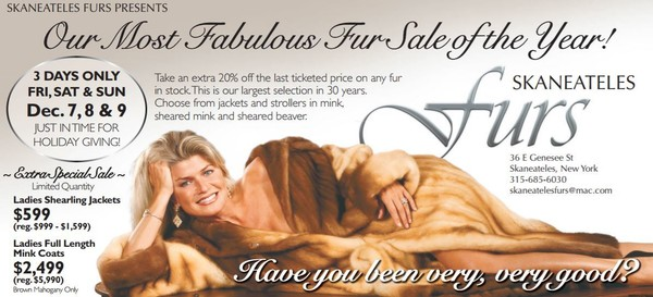 The 2008 Skaneateles Fur add with model Mellisa Hornung Devrient