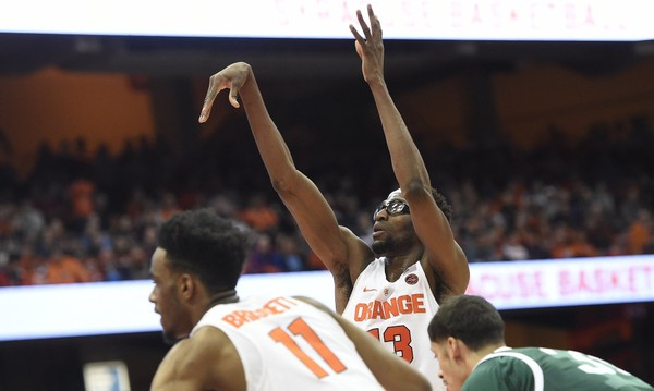 Syracuse center Paschal Chukwu (13) at the foul line during a game against Eastern Michigan on Wednesday, Dec. 27, 2017, at the Carrier Dome. Dennis Nett | dnett@syracuse.com