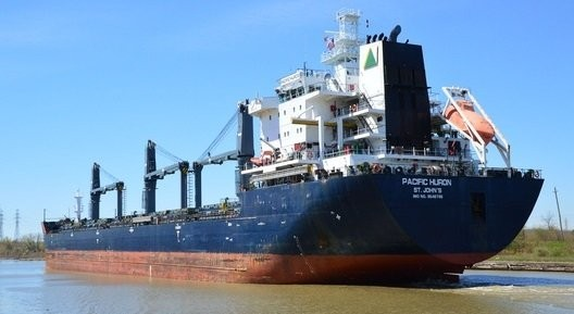 The 623-foot bulk cargo carrier the Pacific Huron ran aground Wednesday, Dec. 27, 2017 about 1,000 feet outside the St. Lawrence Seaway channel, according to the U.S. Coast Guard.