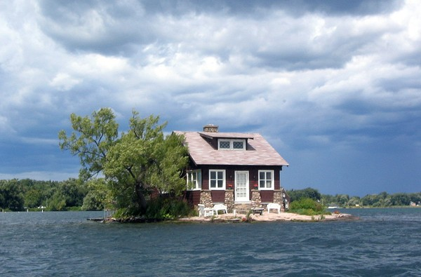This Wikimedia Commons photo shows Just Room Enough Island, the world's smallest inhabited island located in Upstate New York.