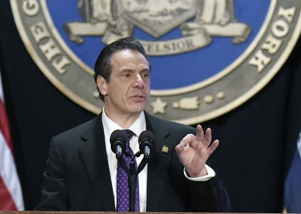 New York Gov. Andrew Cuomo delivers his State of the State address at the Empire State Plaza Convention Center on Wednesday, Jan. 3, 2018, in Albany, N.Y. (AP Photo/Hans Pennink)