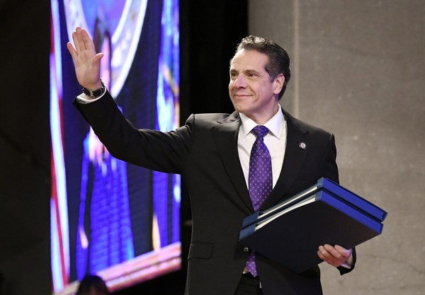 New York Gov. Andrew Cuomo arrives to deliver his state of the state address at the Empire State Plaza Convention Center on Wednesday, Jan. 3, 2018, in Albany, N.Y. He announced that a tunnel or tunnel-boulevard hybrid will be considered as a replacement for the I-81 viaduct in Syracuse. (AP Photo/Hans Pennink)