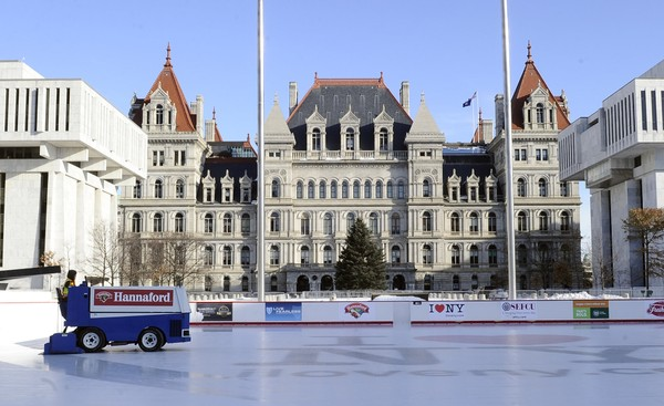 The New York state Capitol and the Empire State Plaza are pictured as New York Gov. Andrew Cuomo prepares to deliver his State of the State address on Wednesday, Jan. 3, 2018, in Albany, N.Y. (AP Photo/Hans Pennink)