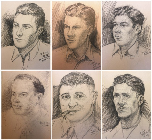 These sketches provided by Ira Dube of U.S. Army 27th Infantry Division soldiers were among more than a dozen done by his father, former Syracuse University student Stan Dube, during World War II. Ira Dube, found them stashed in the attic of his sister's home and hopes to identify the men.