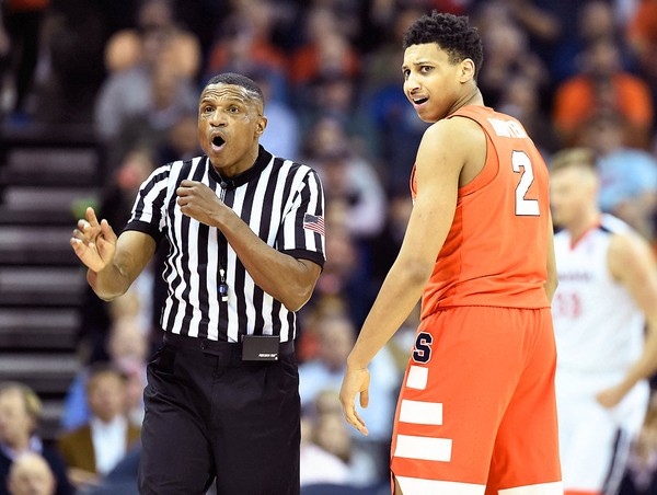 Syracuse forward Matthew Moyer reacts after getting called for a foul during a game against Virginia on Tuesday, Jan. 9, 2018, at John Paul Jones Arena in Charlottesville, Va.