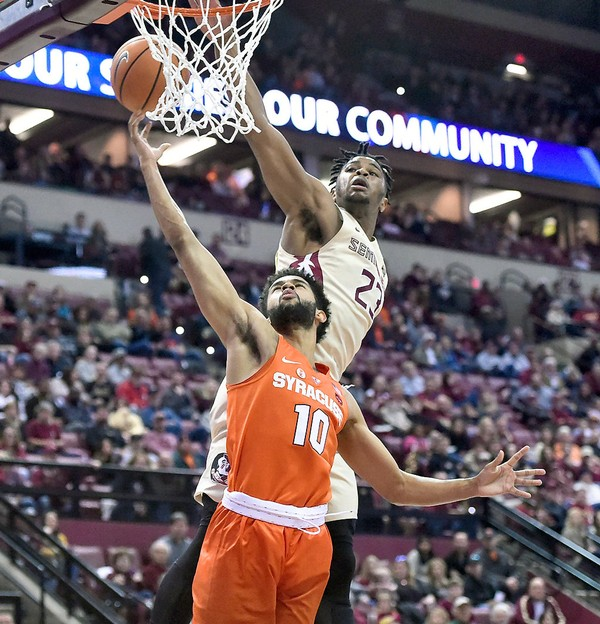 Syracuse guard Howard Washington (10) attempts a layup during a game against Florida State on Saturday, Jan. 13, 2018, at the Donald L. Tucker Civic Center in Tallahassee, Fla.