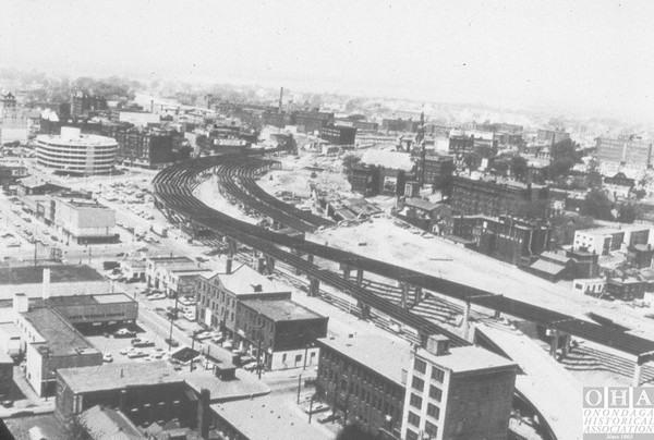 Work continues on the construction of Interstate 81 through the city of Syracuse in the early 1960s.