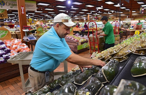 File photo of produce manager at the Fayetteville, New York Wegman's store, Chris DeBello, putting out advocado's in the organic produce section of the store.