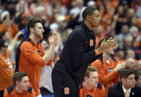 Syracuse's Elijah Hughes cheers from the bench during a game against Notre Dame on Saturday, Jan. 6, 2018, at the Carrie Dome. Dennis Nett | dnett@syracuse.com