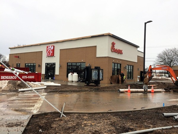 Construction proceeds on the Chick-fil-A restaurant at 7932 Brewerton Road in Cicero on Jan. 12, 2018. (Rick Moriarty | rmoriarty@syracuse.com) The restaurant will open Feb. 22