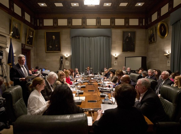 The Board of Regents meets at the State Education Building on Tuesday, May 17, 2016, in Albany, N.Y. State Sen. John DeFrancisco wants to abolish the 17-member board. (AP Photo/Mike Groll)