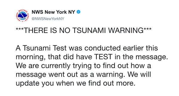 Did you get a tsunami warning? Don't panic, it's just a test