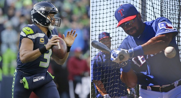 Russell Wilson with the Seattle Seahawks (left) in December, 2017, and taking batting practice with the Texas Rangers in March, 2015. (AP Photos)