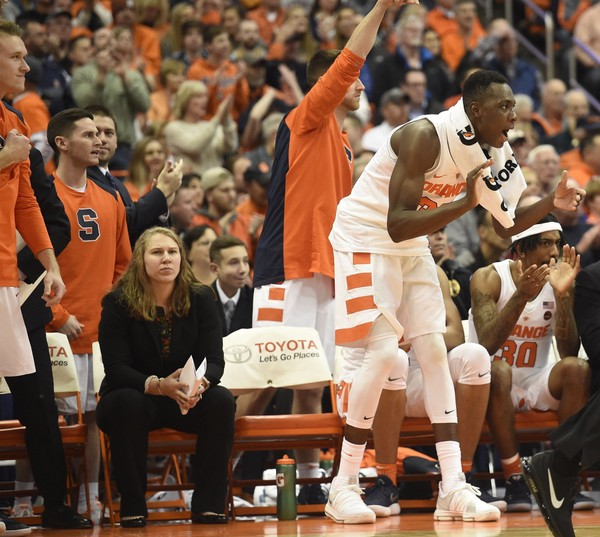 The Syracuse bench with Syracuse forward Bourama Sidibe (35) cheer during a game against Maryland on Monday, Nov. 27, 2017, at the Carrier Dome. Dennis Nett | dnett@syracuse.com(Dennis Nett)