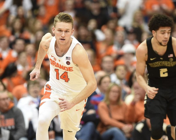 Syracuse guard Braedon Bayer (14) during a game against Wake Forest on Sunday, Feb. 11, 2018, at the Carrier Dome. Dennis Nett | dnett@syracuse.com