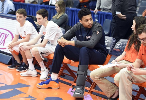 Syracuse forward Matthew  Moyer (2) before the  game against Wake Forest wearing a boot on an injured leg. on Sunday, Feb. 11, 2018, at the Carrier Dome. Dennis Nett | dnett@syracuse.com