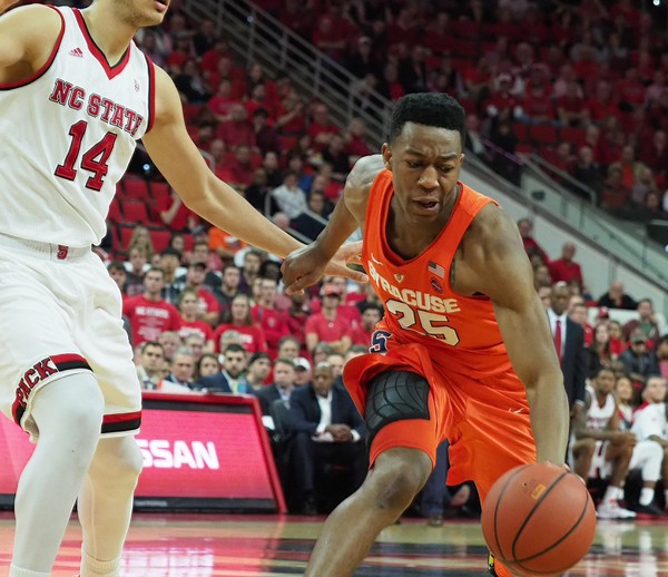 Tyus Battle during a game against North Carolina State on Wednesday, Feb. 1, 2017, at PNC Arena in Raleigh, N.C.  (Stephen D. Cannerelli | scannerelli@syracuse.com)