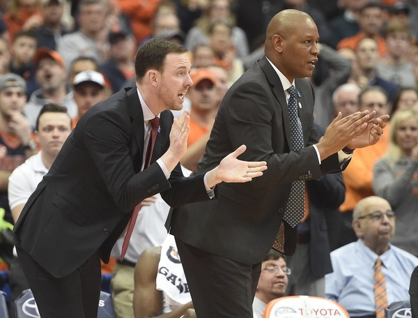Syracuse assistant coach Gerry McNamara and associate coach Adrian Autry during a game against Wake Forest on Sunday, Feb. 11, 2018, at the Carrier Dome.