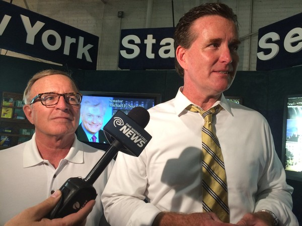 New York Senate Majority Leader John Flanagan, right, endorsed  Sen. John DeFrancisco, R-DeWitt, for governor. The two are shown touring the New York State Fair in 2015.
