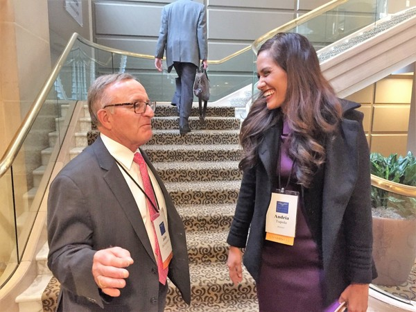 State Sen. John DeFrancisco, R-DeWitt, introduces himself to a GOP candidate for governor in Hawaii, state Rep. Andria Tupola, at a meeting of the Republican Governors Association at the Fairmont Hotel in Washington, D.C., on Friday, Feb. 23, 2017.
