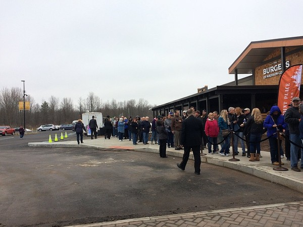 Several hundred people line up to be the first ones to get inside the new $40 million Point Place Casino in Bridgeport in Madison County on Thursday, March 1, 2018. This photo taken about 9:30; the doors were expeted to open at 10 a.m.