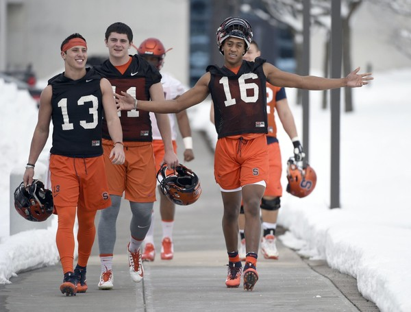 Syracuse redshirt freshman quarterback Tommy DeVito (left) believes he's mentally ready to run SU's hurry-up, spread offense against a live defense.