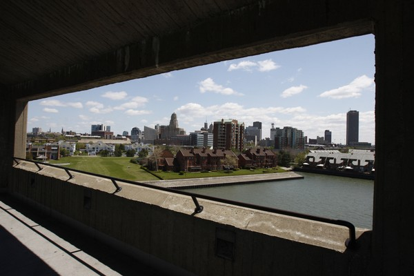 The city of Buffalo is shown from a Lake Erie waterfront overlook tower in Buffalo, N.Y., Monday, May 10, 2010.